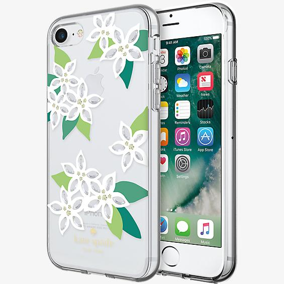 Estuche rígido flexible para iPhone 7 - Blanco floral