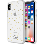Carcasa dura flexible para el iPhone X - Color Scatter Dot Gold with Gems