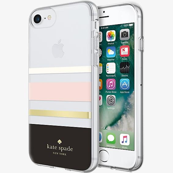 Carcasa dura flexible para iPhone 8 - Negro a rayas Charlotte