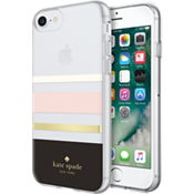 Carcasa dura flexible para iPhone 8 - Negro a rayas Charlotte/crema/damasco/lámina dorada