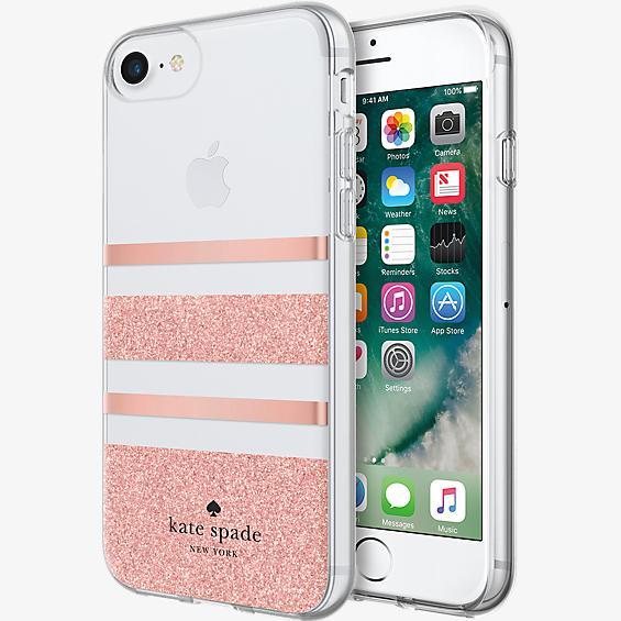 Carcasa dura flexible para iPhone 8 - Lámina rosa dorada a rayas Charlotte/brillo rosa dorado