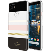 Carcasa rígida flexible para Pixel 2 XL - Color Charlotte Stripe Black/Crema/Blush/Gold Foil/Transparente