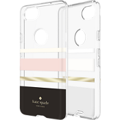 Estuche rígido flexible para Pixel 2 - Color Charlotte Stripe Black/Crema/Blush/Gold Foil/Transparente