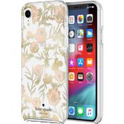 Carcasa dura para el iPhone XR - Flores rosas/Hojas doradas/Gemas