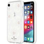 Carcasa dura para el iPhone XR - Transparente con flores Hollyhock/Crema con piedras