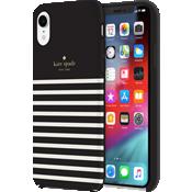 Carcasa dura para el iPhone XR - Negro/Crema/Logotipo dorado