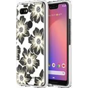 Carcasa dura para el Pixel 3 XL - Transparente con flores Hollyhock/Crema con piedras