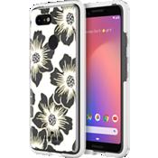 Carcasa dura para el Pixel 3 - Transparente con flores Hollyhock/Crema con piedras