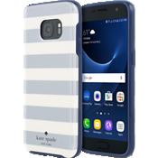 Estuche rígido flexible para Samsung Galaxy S7 - Rayas de colores plateado/crema