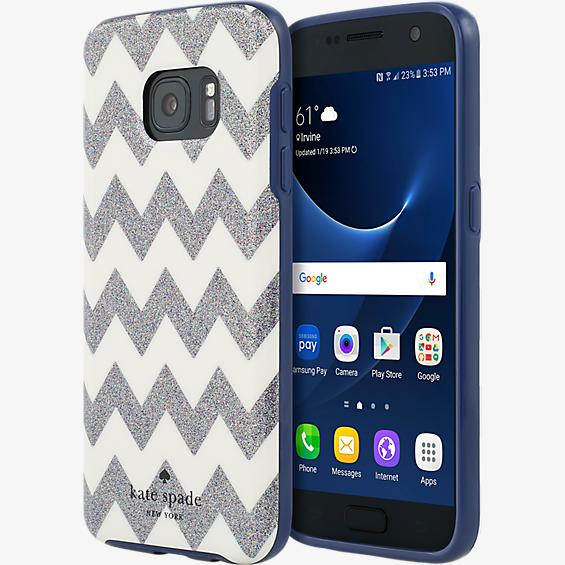 Estuche rígido flexible para Samsung Galaxy S7 - Color Chevron Multi Glitter