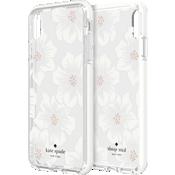 Carcasa dura para el iPhone Xs Max - Transparente con flores Hollyhock/Crema con piedras