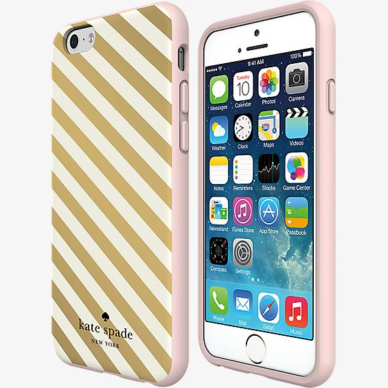 Estuche rígido flexible para iPhone 6/6s - Franja diagonal dorada