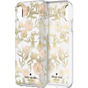 Carcasa dura para el iPhone XS Max - Flores rosas/Hojas doradas/Gemas