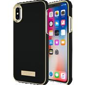 Estuche para iPhone X - Saffiano Black/Gold Logo Plate