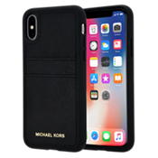 Estuche con bolsillo de piel Saffiano para iPhone X - Negro