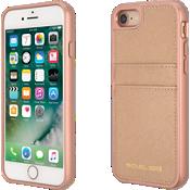 Estuche con bolsillo de piel Saffiano para iPhone 8/7 - Color Ballet Rose Gold