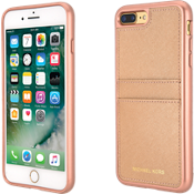 Estuche con bolsillo de piel Saffiano para iPhone 8 Plus/7 Plus - Color Ballet Rose Gold