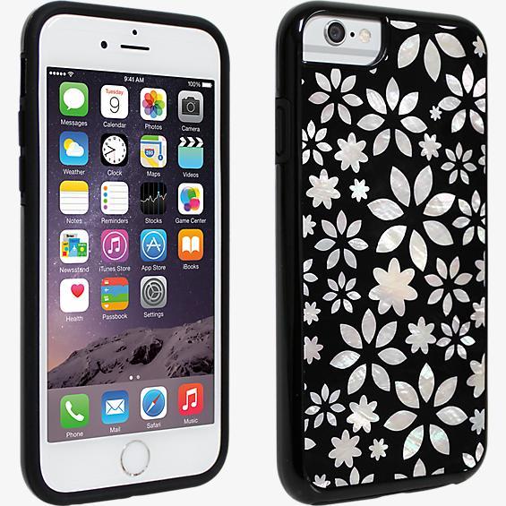 Cubierta para iPhone 6/6s, diseño de flores en blanco y negro