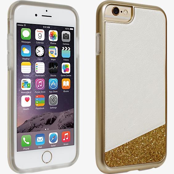 Cubierta Glitter para iPhone 6/6s, blanco y dorado