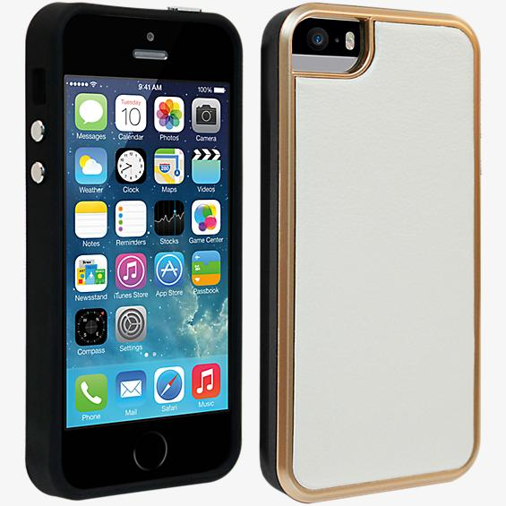 Estuche de piel ecológica para iPhone 5/5s - Blanco y color Rose Gold
