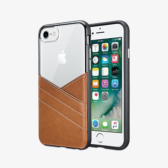 Estuche transparente con bolsillo de piel para iPhone 7