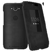 Estuche plegable Motorola para el DROID Turbo - Piel negro y gamuza gris