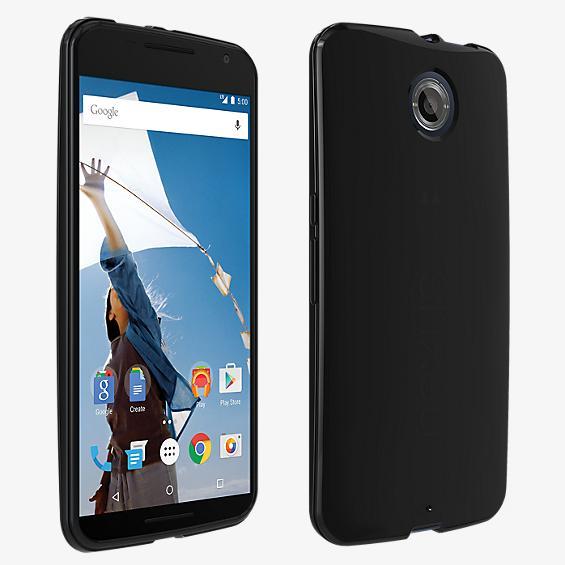 Cubierta de silicona brillante para Nexus 6 - Negro