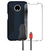 Paquete de carcasa Speck Presido Grip, protector de pantalla y cargador para auto para el Moto Z3