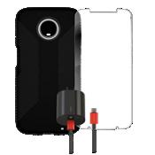 Paquete de carcasa Speck Presido Grip, protector de pantalla y cargador para el Moto Z3
