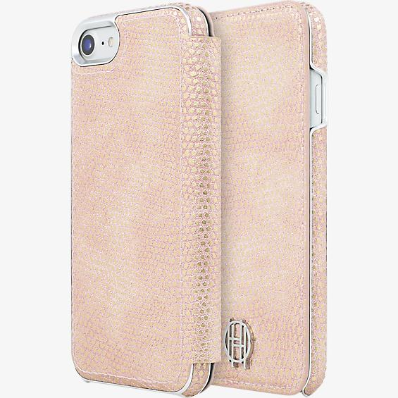 Estuche tipo folio 1960 para iPhone 7 - Color Pink Kraits/Color Silver Metallic