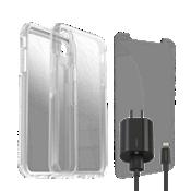 Paquete de estuche Otterbox Symmetry Clear, protección y cargador para el iPhone XS Max