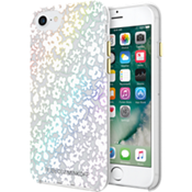 Estuche protector Double Up para iPhone 7 - Color Floral Clear/Blanco/Hojas holográficas