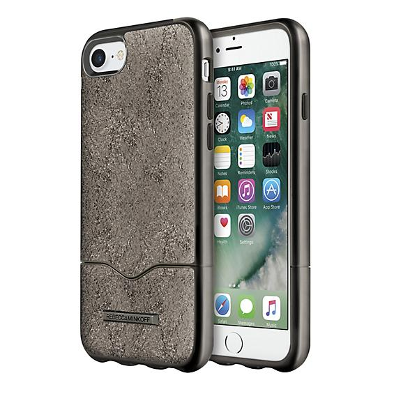 Estuche Rebecca Minkoff Slider para iPhone 7 - Color Cracked Leather Anthracite