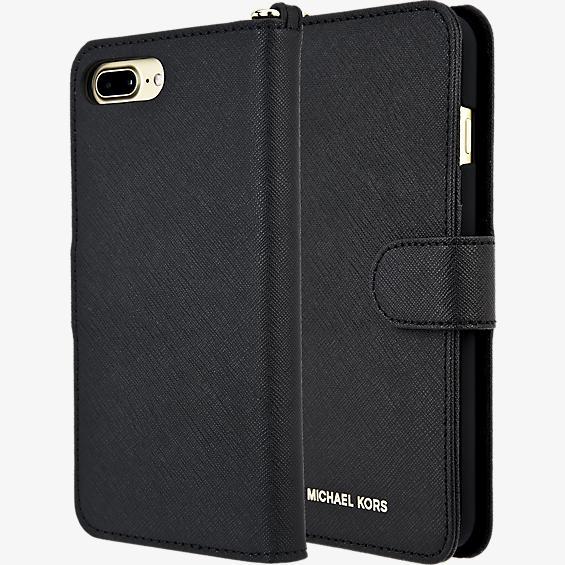 Estuche tipo folio de piel Saffiano para iPhone 7 Plus - Negro