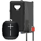 Paquete de protector Otterbox Commuter, protector de pantalla y cargador para auto con Wonderboom para el Galaxy Note9