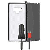 Paquete de carcasa Tech21 Evo Check, protector de pantalla y cargador para auto para el Galaxy Note9
