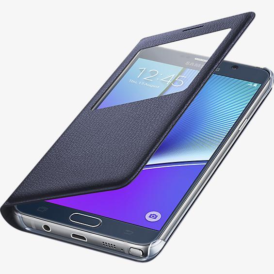 Cubierta S-View para Samsung Galaxy Note 5 - Color Black Sapphire