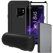 Paquete estéreo, de cargador y protector OtterBox Defender para Galaxy S9