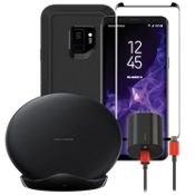 Paquete de cargador inalámbrico y protector OtterBox Defender para Galaxy S9