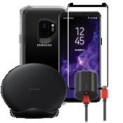 Paquete de cargador inalámbrico y protector OtterBox Symmetry Clear para Galaxy S9