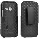 Paquete combinado de cubierta/protector Verizon para HTC One remix - Negro