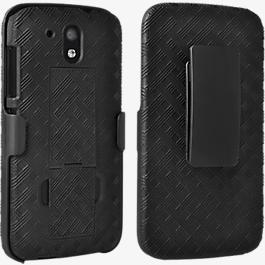 Paquete combinado de cubierta/protector con pie de apoyo para HTC Desire 526
