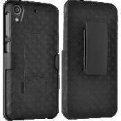 Paquete combinado de cubierta/protector con pie de apoyo para HTC Desire 626
