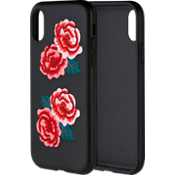 Estuche bordado de piel para Apple iPhone X - Flora