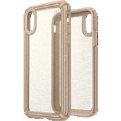 Carcasa Presidio V-Grip para el iPhone XR - Transparente con brillo dorado/Calfskin Brown