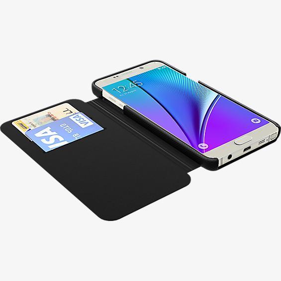 Estuche tipo folio para Samsung Galaxy Note 5 - Piel negra
