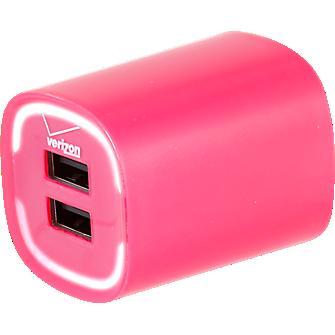 Cargador para viaje de 3.4 amp con salida doble - Rosa