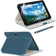 Paquete de estuche tipo folio, protector de pantalla y lápiz electrónico para Ellipsis 10 - Azul