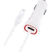 Cargador para auto con salida doble y luz LED para Micro USB - Blanco