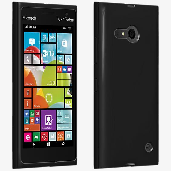 Cubierta de silicona brillante para el Microsoft Lumia 735 - Negro